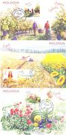 2019. Moldova, Traditional Folk Months, Summer, Issue III, Maxicards, 3val, Mint/** - Moldavia