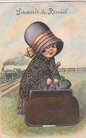 Souvenir Remich , Carte à  Système ,( La Voyageuse Et Le Train ) - Remich
