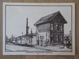 1976 Carte Archennes La Gare Des Vicinaux Tram De Jodoigne Elections Communale N° 11 Illustra J. Luc Beghin Illustrateur - Graven