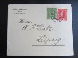 GANZSACHE Wien - Leipzig Nachfrankiert 1917 % Werbung  // D*39301 - 1850-1918 Imperium