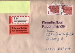 ! 1 Einschreiben Mit Rückschein 1993 Mit Selbstklebenden R-Zettel Aus 26434 Wangerland - BRD