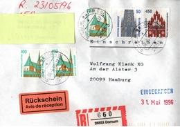 ! 1 Einschreiben Mit Rückschein 1993 Mit  R-Zettel Aus 26553 Dornum - BRD