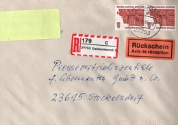 ! 2 Einschreiben Rückschein, 1996, 1997, 1 X Mit Selbstklebenden R-Zettel Aus 27753 Delmenhorst - BRD