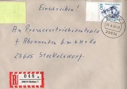 ! 1 Einschreiben 1994 Mit  R-Zettel Aus 29614 Soltau, Dauerserie Frauen Hedwig Courths-Mahler, Bogenrand - BRD