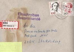 ! 2 Einschreiben 1994, 1997, Dabei 1 X  Mit Selbstklebenden R-Zettel Aus 29664 Walsrode - BRD