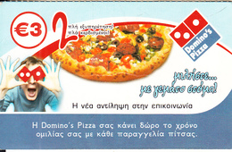 """GREECE - Domino""""s Pizza, Voice Comm Prepaid Card 3 Euro, Used - Advertising"""
