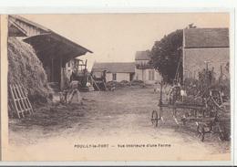 CPA- POUILLY-LE-FORT - Vue Intérieure D'une Ferme- Dép77 Ou Dép45 -(homme Son Chien Matériel Agricole Charrue)2scans - Frankrijk