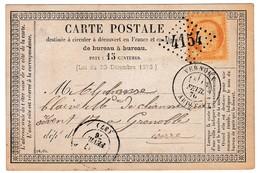 Entier Postal Vernoux Ardèche Guironnet 1876 Pour Grenoble Isère Gros Chiffre 4154 Timbre Cérès 15 Centimes - 1871-1875 Cérès