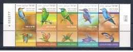 Israel 2019 - Birds In Israel - Definitive Series - Set With Tab Blocks Mnh - Israel
