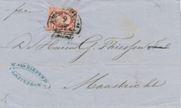 Nederland - 1860 - 10 Cent Willem III, 1e Emissie Op Omslag Van HRF Amsterdam Naar Maastricht - Period 1852-1890 (Willem III)