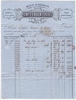 Lettre 1861 Thizy Rhône Couturier Frères Articles Du Beaujolais Jaspés Cotonne Ménage Coton Voiron Isère - 1853-1860 Napoléon III