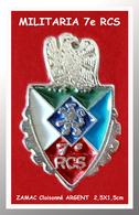 SUPER PIN'S MILITARIA : BLASON Du 7e RCS, 7em REGIMENT De COMMANDEMENT Et De SOUTIEN, Zamac Cloisonné Argent 2,5X1,5cm - Militaria
