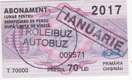 Moldova , Moldavie , Chisinau ,  Trolley  Bus  Ticket ,  Monthly Pass , Januarie ,  2017 , Used - Andere