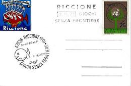 ITALIA - 1971 RICCIONE (FO) Giochi Senza Frontiere Doppio Annullo Manuale (pesce) E A Targhetta - Giochi