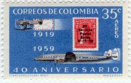 Lote 24d, Colombia, 1959,  40 Años De Avianca, Avion, Stamp On Stamp, 2 V, Airplane - Colombia