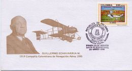 Lote 1966F, Colombia, 1995, SPD - FDC, SCADTA, Airplane, Stamp On Stamp - Colombia