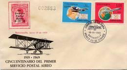 Lote 1181-2bF, Colombia, 1969, SPD-FDC, 50 Años Del Primer Vuelo Postal, Bquilla, Airplane, Map, Nariño - Colombia
