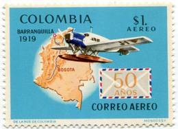 Lote 1181-4, Colombia, 1969, Sello, Stamp, 4 V, 50 Años Del Primer Vuelo Postal, Airplane, Map, Expo, Hydroplane, Jet - Colombia