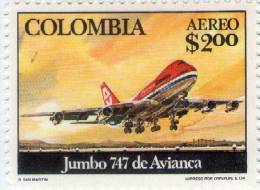 Lote 1338, Colombia,1976, Sello, Stamp, Inauguration Of 747 Jumbo Jet Service By Avianca, Airplane - Colombia