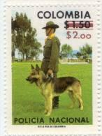 Lote 1348, Colombia, 1977, Sello, Stamp, Policia Nacional, Resello, Policeman With Dog, Overprint - Colombia