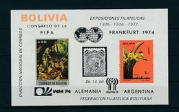 Bolivia 1974, Philaexpo Frankfurt74, Orchids, World Cup Football In Germany, Stamp On Stamp, Art, BF - 1970 – Mexico