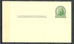 USA 1937 Postal Stationery Stamped Postal Card Ganzsache Jefferson 1 C. Unused - Ganzsachen