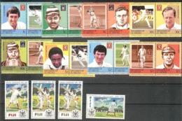 FIJI,Grenadines St.Vincent  Cricket 2 Sets Of 20 Stamps  MNH - Francobolli