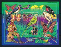 Guinea 1988, Scout, Parrots, Butterflies, BF IMPERFORATED - Perroquets & Tropicaux