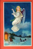 PEPF-37 Bonne Année Ange Jouant De La Harpe. Messe De Minuit. Circulé 1910 - New Year