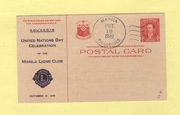 Philippines - Manila - 19 Oct 1949 - Souvenir United Nations Day Celebration Of Manila Lions Club - Entier Postal - Philippines