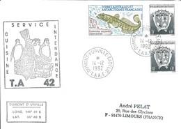 TAAF - Dumont D'Urville-T.Adélie: Lettre Avec Timbres N°166 Légine Australe Et N°163 Armoiries - 14/12/1992 - Lettres & Documents