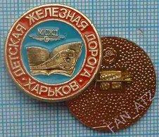 USSR / Badge / Soviet Union / UKRAINE Children's Road Transport. South Railway Train Kharkov 1990. - Transportation