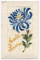 Carte Brodée Amitié Sincère ( Fleur ) - Excellent Etat - Bestickt