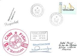 "TAAF - Dumont D'Urville-T.Adélie: Lettre ""L'Astrobale"" Avec Australie N°1235 Voilier John Louis - 14/12/1992 - French Southern And Antarctic Territories (TAAF)"
