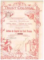 Action Ancienne - Trust Colonial Société Anonyme -Titre De 1899 N° 069622 Déco - Banque & Assurance