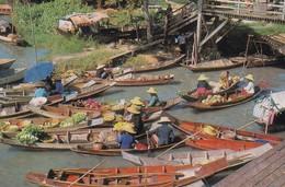 1980'S CPA THAILAND.  THE FLOATING MARKET, WAD SAI. BANGKOK. GOLDEN PENINSULA PHOTO - BLEUP - Thaïlande