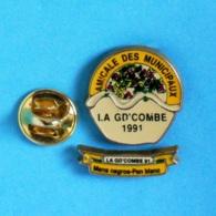 2 PIN'S //  ** AMICALE DES MUNICIPAUX / LA GD'COMBE '91 / MANS NEGROS - PAN BLANC ** - Noël