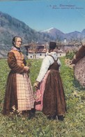 1920'S CPA FOLK COSTUMES SUISSE- DOLOMITI. COURMAYEUR. ANCIEN COSTUME DES FEMMES. J. BROCHEREL - BLEUP - Costumes
