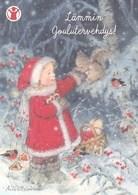 Postal Stationery - Birds - Bullfinches - Girl Feeding Squirrel - Save The Kids - Suomi Finland - Postage Paid - Ganzsachen