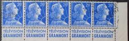 "R1591/124 - 1957 - TYPE MARIANNE DE MULLER - BANDE N°1011B (I) ☉ Avec Publicité "" TELEVISION GRAMMONT "" - Advertising"