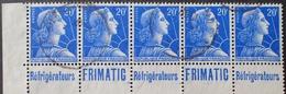 "R1591/125 - 1957 - TYPE MARIANNE DE MULLER - BANDE N°1011B (I) ☉ Avec Publicité "" REFRIGERATEURS FRIMATIC "" - Advertising"