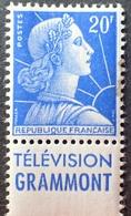 """R1591/126 - 1957 - TYPE MARIANNE DE MULLER - N°1011B (I) NEUF* (timbre Taché) Avec Publicité """" TELEVISION GRAMMONT """" - Advertising"""