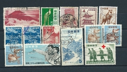 Japan, 1949-1959, Lot Of 14 Used Stamps: MiNr 454 - 706, Yt 424 - 629 (see Description), 25% Of Catalog Price - 1926-89 Empereur Hirohito (Ere Showa)