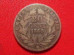 France - 20 Centimes 1860 BB Strasbourg Napoléon III - Rare Variété 6 Sur 5 2863 - Francia