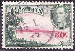 CEYLON 1938 30 Cents Carmine & Green SG393 Used - Ceylon (...-1947)