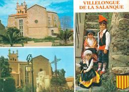 Villelongue De La Salanque L'eglise St Marcial Folklore Catalan  CPM Ou CPSM - Francia