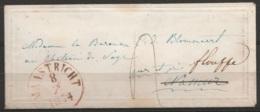 """LSC """"Valentine"""" Càd MAASTRICHT/1854 Port """"4"""" Pour NAMUR Réexpédiée Vers Floreffe (au Dos: T20 """"DEBOURSE/NAMUR"""" + Càd FLO - 1830-1849 (Belgique Indépendante)"""