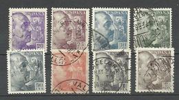 SPAIN Espana 1939/53 = 8 Stamps From Set Michel 841 - 857 General Fr. Franco, O - 1931-Heute: 2. Rep. - ... Juan Carlos I