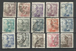 SPAIN Espana 1939/53 = 15 Stamps From Set Michel 841 - 857 General Fr. Franco, O - 1931-Heute: 2. Rep. - ... Juan Carlos I