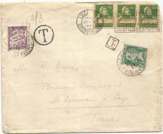 PASTEUR 30C MIXTE 2FR TAXE VIOLET ST GERMAIN 1927 LETTRE DE SUISSE EN POSTE RESTANTE RARE - 1922-26 Pasteur